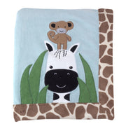 "Lambs & Ivy Peek A Boo Jungle Monkey Giraffe Blanket 30""x40"" - Personalized Monogrammed"