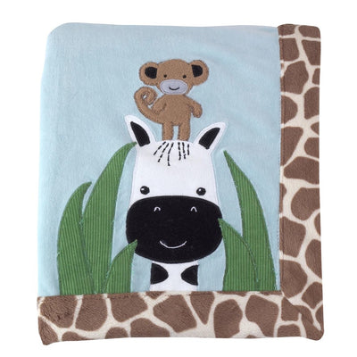 Lambs & Ivy Peek A Boo Jungle Monkey Giraffe Blanket 30