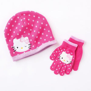 Hello Kitty Pink Beanie Hat and Gloves Set