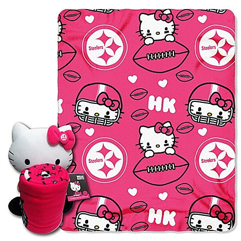 Hello Kitty Pittsburgh Steelers NFL Hugger and Throw Set- Personalized
