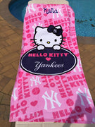New York Yankees Hello Kitty Series Beach Towel - Personalized
