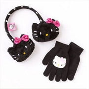 Hello Kitty Black Earmuff with Sequin Bow and Glove Set