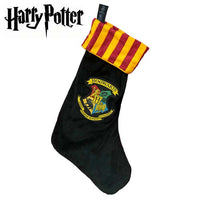 "Harry Potter Hogwarts Crest Velvet 18"" Christmas Stocking Stripped Cuff - Personalized T19"
