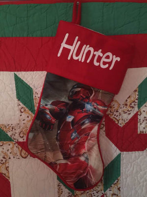 Iron Man Christmas Stocking 20 inch - Personalized T1