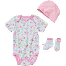 Lovespun Newborn Baby Girl Sweet Pink Flowers 3 Piece Creeper, Sock, & Hat Gift Set