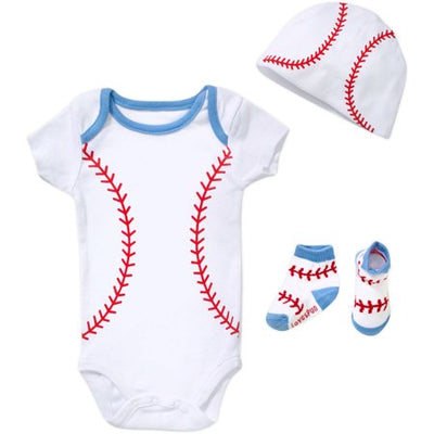 Lovespun Newborn Baby Boy BASEBALL 3 Piece Creeper, Sock, & Hat Gift Set