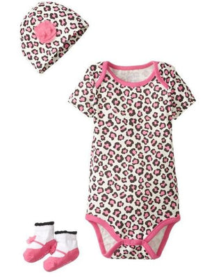 Lovespun Newborn Baby Girl Pink Leopard Print 3 Piece Creeper, Sock, & Hat Gift Set