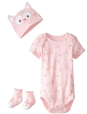 Lovespun Newborn Baby Girl Owl 3 Piece Creeper, Sock, & Hat Gift Set