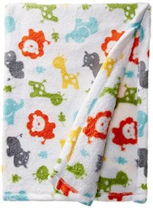"Baby Lovespun Zoo Animals Plush Blanket Blanket 30""x40"" - Personalized Monogrammed"