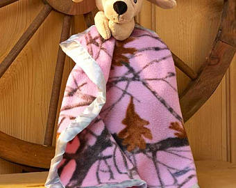 True Timber Camo Pink Lab Dog Snuggle Lovey Blanket Crib toy - Personalized