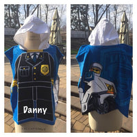 Policeman Hooded Beach Towel Poncho LEGO City Heros – Personalized