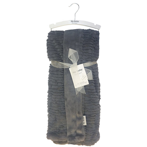 My Baby Boutique - Luxurious Textured Plush Blanket - Charcoal Stripes - Personalized