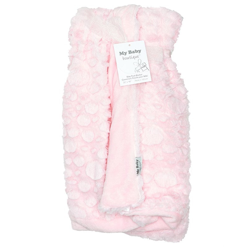 My Baby Boutique - Luxurious Textured Plush Blanket - Pink - Personalized