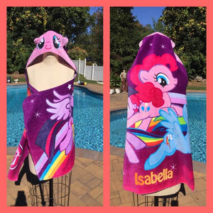 MLP My Little Pony Hooded Towel Wrap Bath Beach or Pool Towel - Personalized