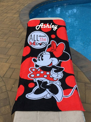 Minnie MOUSE Beach Towel - Personalized Beach Towel - All about the Dots