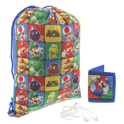 Super Mario Drawstring Backpack Gift Set