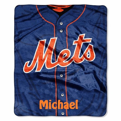 MLB New York METS Jersey Raschel Throw Blanket - Personalized