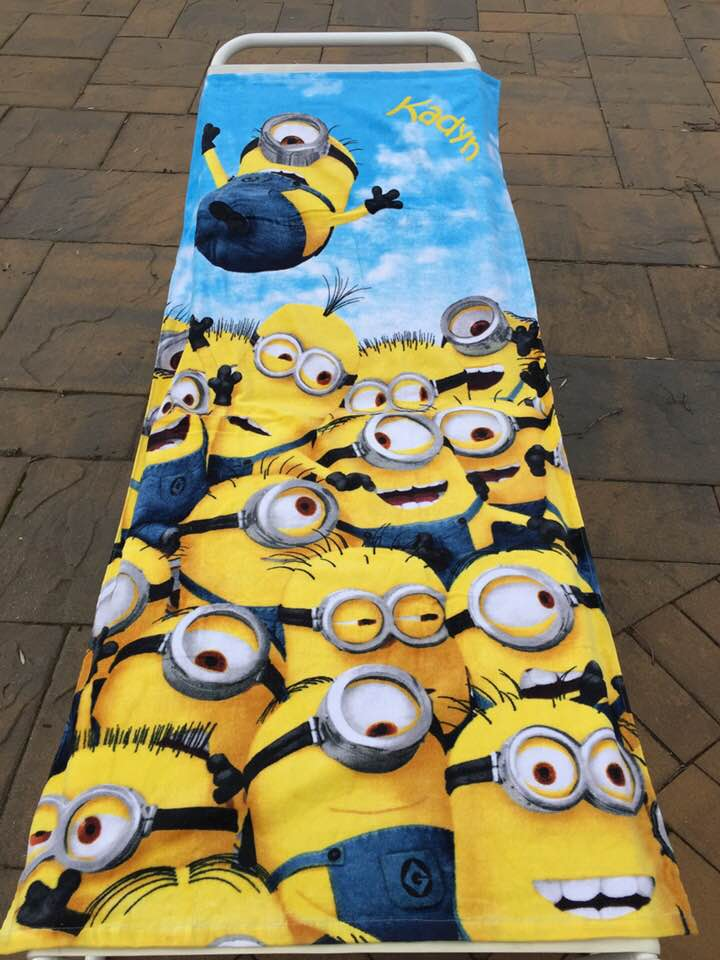 Minions Pilled Up Beach Towel Personalized