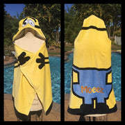 Despicable Me 'Minion Made' Kid's Super Soft Hooded Beach Towel Bath Towel Wrap - Personalized