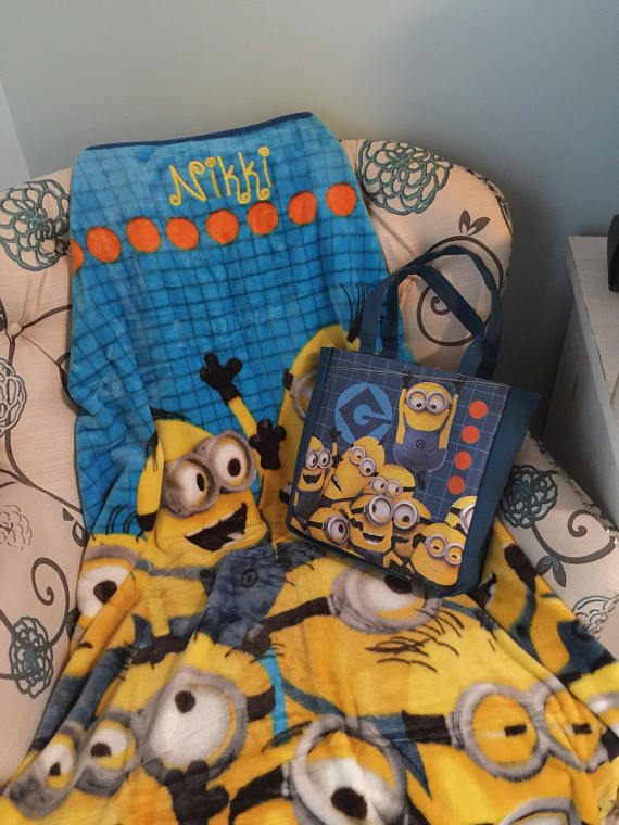 Despicable Me Minions Tote and Throw blanket set- Personalized