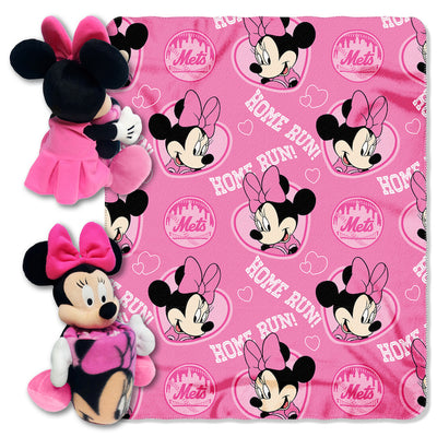 Disney Minnie Mouse MLB NY METS Cheerleader Fleece Throw Blanket & Hugger - Personalized