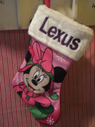 "Minnie Mouse 18"" Pink Jersey Christmas Stocking Plush Cuff - Personalized T6"