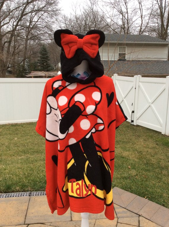 DISNEY Minnie Mouse Super Soft Plush Fleece Hooded Poncho Blanket - Personalized