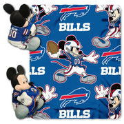 Disney Mickey Mouse NFL Buffalo BILLS Fleece Throw Blanket & Hugger - Personalized