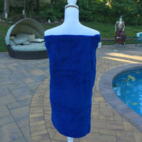 Plush Bath Towel Wrap - Personalized - NAVY BLUE - Wedding Bride Pool Spa Robe - Women OSFM