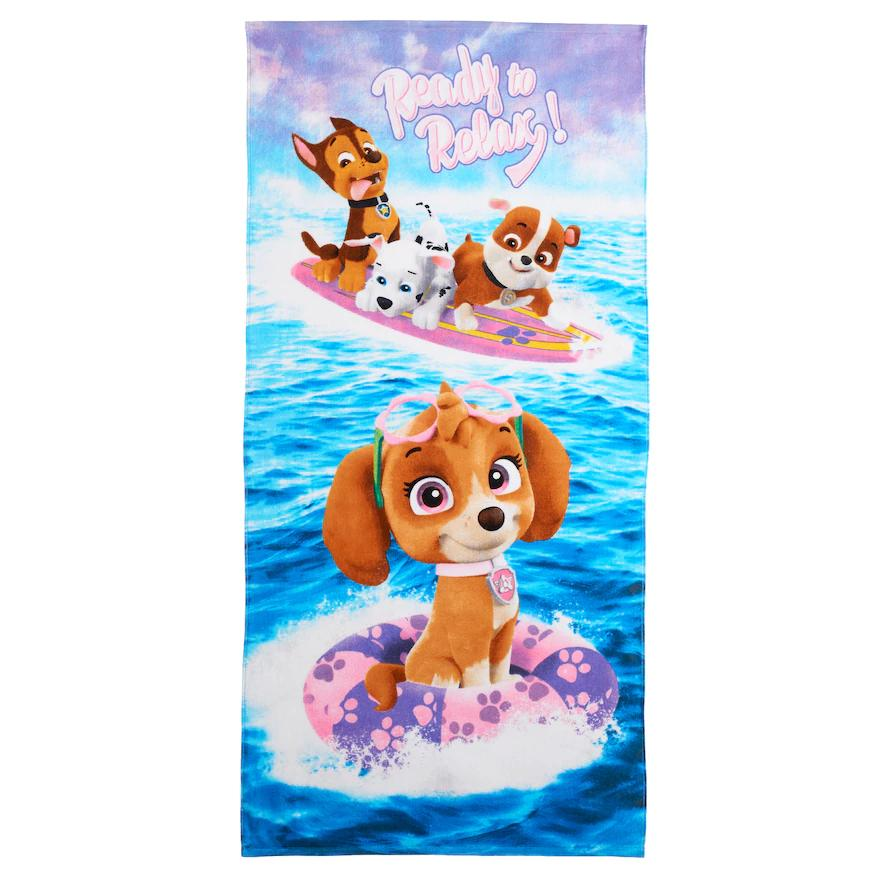 "Paw Patrol Skye, Chase, Marshall, Rubble ""Ready to Breeze"" Beach Towel - Personalized"