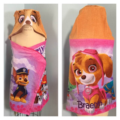 Paw Patrol Skye Hooded Beach Towel Bath Towel Wrap - Personalized