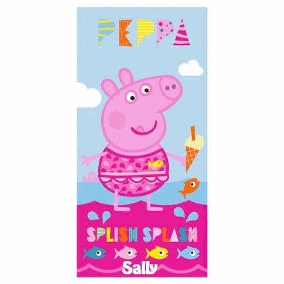 One Peppa Pig BIG SPLASH at the Beach Towel - Personalized Beach Towel
