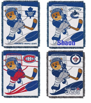 Personalized Canadian HOCKEY Teddy Bear Blanket Throw Toranto Montreal Winnipeg Vancouver NHL Teams - Monogrammed