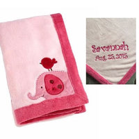 Elephant Raspberry Jungle Applique Coral Blanket, Baby Blanket - Personalized