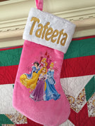 "Princess Snow White Cinderella 18"" Velvateen Christmas Stocking Plush Cuff - Personalized"