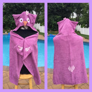Purple Owl Hooded Towel Bath Wrap - Personalized