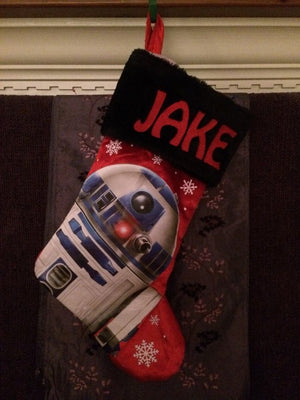 Star Wars R2D2 Christmas Stocking 20 inch BLACK Satin with Plush Cuff -  Personalized T2