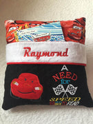 "CARS Pocket Pillow Reading Pillow ""A Need for Speed and an Urge to Read""  - Personalized"