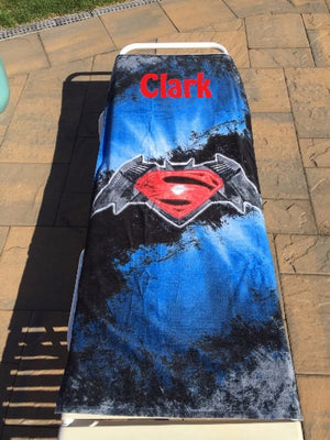 Batman V Superman Logo Beach Towel - Personalized