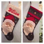 "20"" Appliqued Christmas Stocking Santa with Fuzzy Hat and Beard Personalized T15"