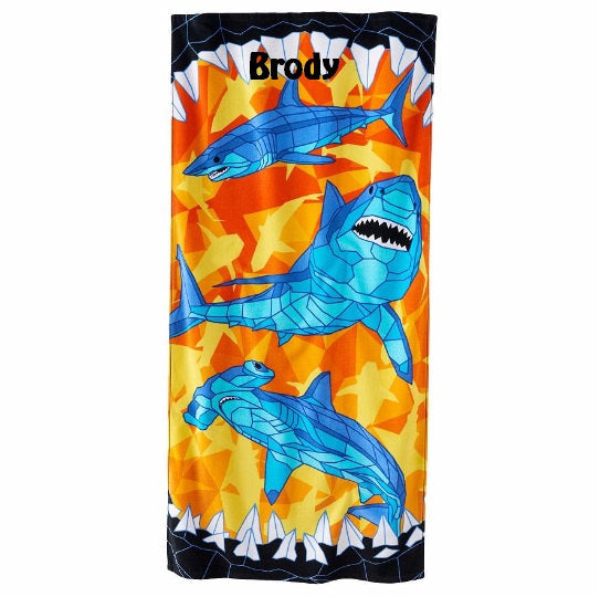 Sharks Baby Shark Beach Towel - Personalized