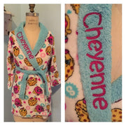Girls 6-12 Shopkins D'Lish Donut Kooky Cookie Pattern Plush Robe - Personalized