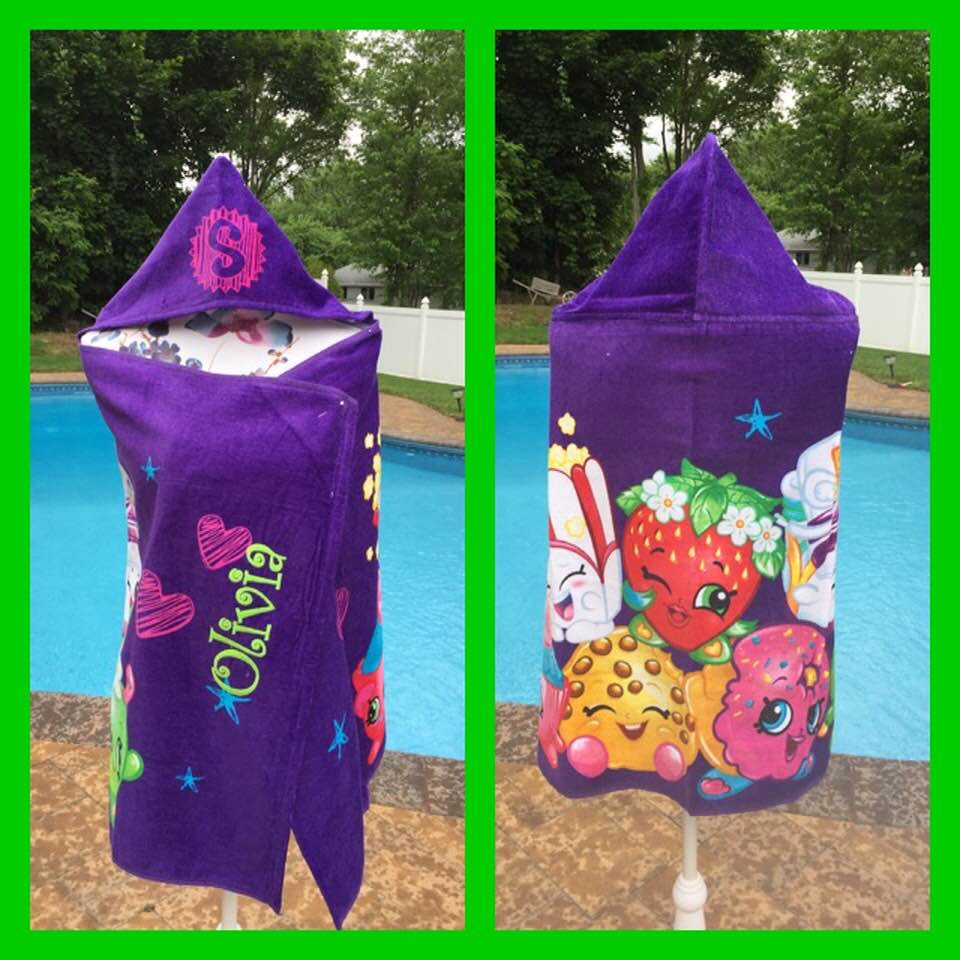Shopkins Hooded Towel Wrap - Personalized