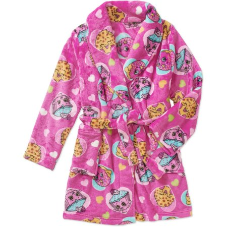 Shopkins Girl's Pink Fleece Bathrobe - Personalized Size: 10