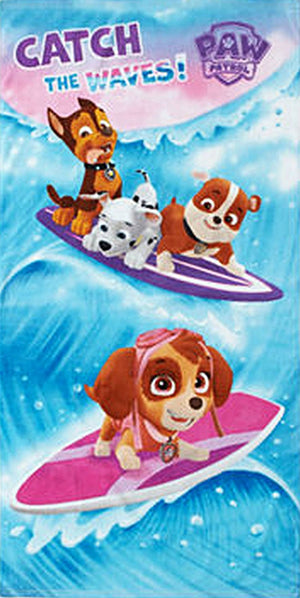 "Paw Patrol Skye, Chase, Marshall, Rubble ""Chath the Waves"" Beach Towel - Personalized"