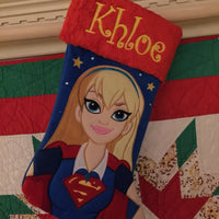 "Super Girl Supergirl 18"" Christmas Applique Stocking Plush Cuff - Personalized T1"