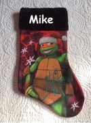 "TMNT Mikey Turtle 18"" felt Christmas Stocking Plush Cuff - Personalized"