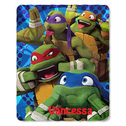 TMNT Ninja Turtle Personalized Kids Micro Fleece Throw Blanket - Monogrammed