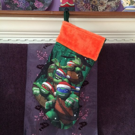 "TMNT Team Turtle 18"" felt Christmas Stocking Plush Cuff - Personalized T8"