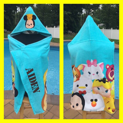 Disney Tsum Tsum Stacks on Stacks hooded bath towel wrap - Personalized